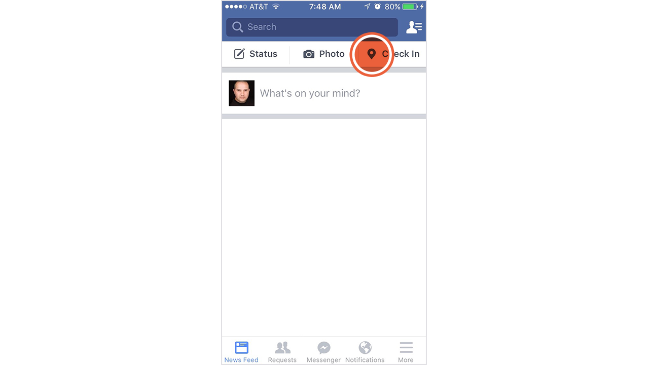 Create a Facebook check-in status.