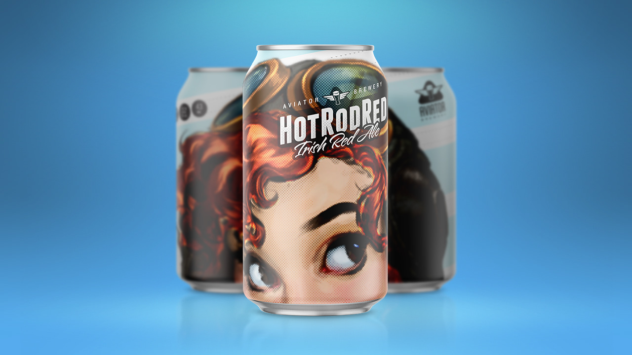 Three Aviator Brewing Hot Rod Red beer cans