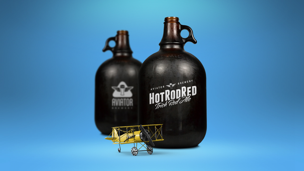 Growler of Aviator Brewing Hot Rod Red Beer